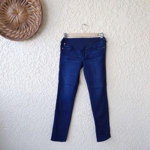 AG maternity straight leg jeans stretchy dark deni